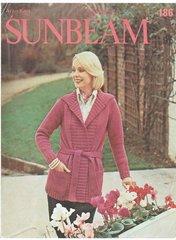 Sunbeam 186 ladies long line belted jacket coat cardigan vintage knitting pattern