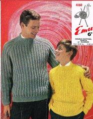 Emu 4160 mens jumper vintage knitting pattern