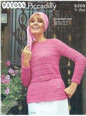 Patons 6209 ladies jumper vintage crochet pattern