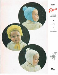 Emu 8352 loopy bonnet baby hat vintage knitting pattern