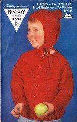 Bestway 3691 baby  jacket vintage knitting pattern