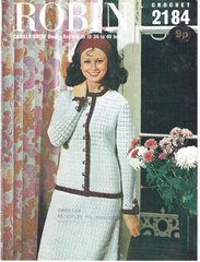 Robin 2184 ladies channel style cardigan skirt suit vintage crochet pattern