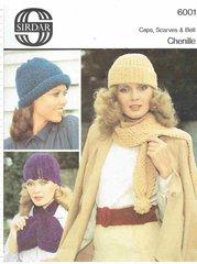 Sirdar 6001 ladies hats and scarf vintage knitting pattern