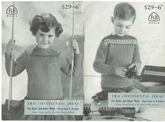 Patons 529 childrens jumper vintage knitting pattern