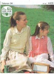 Sirdar 4409 ladies girls waistcoat vintage knitting pattern