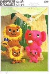 Wendy 4006 toy lion and elephant vintage knitting pattern