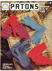 Patons 1237 childrens gloves and mitts vintage knitting pattern