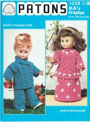 Patons 1229 dolls clothes vintage knitting pattern