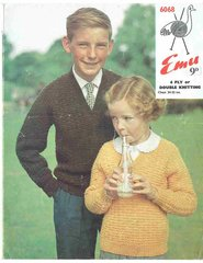 Emu 6068 childrens jumper vintage knitting pattern