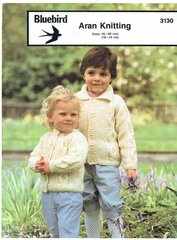 Bluebird 3130 baby aran cardigan vintage knitting pattern