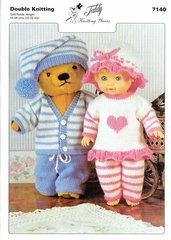 Teddy 7140 dolls clothes knitting pattern