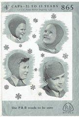 Patons 865 childrens cap hat vintage knitting pattern