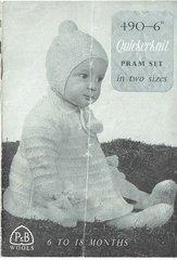 Patons 490 baby pram suit set vintage knitting pattern