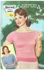 Bestway 3605 ladies top jumper vintage knitting pattern