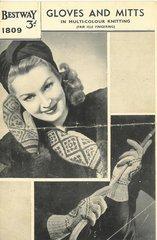 Bestway 1809 ladies fairisle gloves and mitts vintage knitting pattern