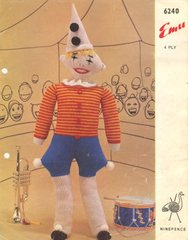Emu 6240 toy clown doll vintage knitting pattern