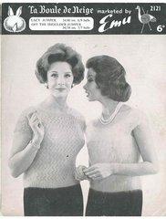 Emu 2121 ladies tops vintage knitting pattern