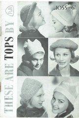 Patons 1055 ladies hats vintage knitting pattern