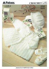 Patons 4621 baby matinee coat set crochet pattern
