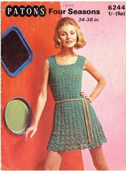 Patons 6244 ladies dress vintage crochet pattern