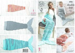 King Cole 4908 baby children adult sleeping bag mermaid tails crochet pattern