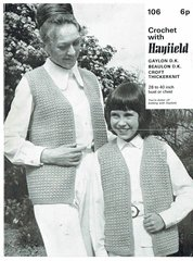 Hayfield 106 ladies and girls children waistcoat vintage crochet pattern