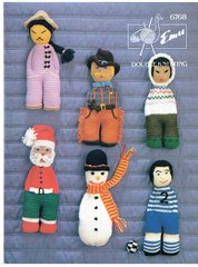Emu 6768 toy dolls vintage knitting pattern