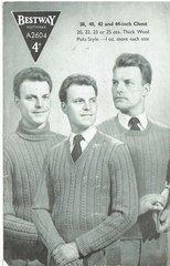 Bestway 2604 mens jumpers vintage knitting pattern