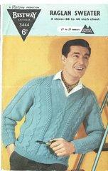 Bestway 3444 mens raglan sweater jumper vintage knitting pattern
