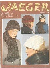 Jaeger 4848 ladies hat and scarf vintage knitting pattern
