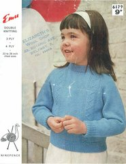 Emu 6179 childrens  jumper vintage knitting pattern