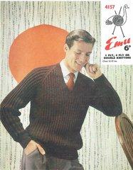 Emu 4157 mens jumper vintage knitting pattern