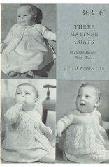 Patons 363 baby matinee coats vintage knitting pattern