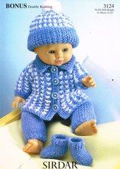 Sirdar 3124 pram suit for doll knitting pattern