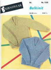 Bairnswear 1530 baby jumper vintage knitting pattern