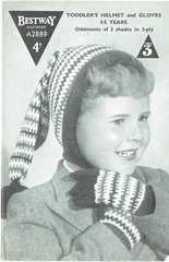 Bestway 2899 childrens hat and gloves vintage knitting pattern