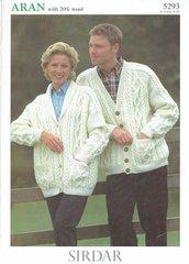Sirdar 5293 ladies mens aran cardigan vintage knitting pattern