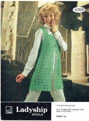 Ladyship 4709 ladies waistcoat vintage crochet pattern