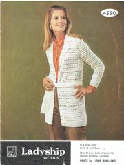 Ladyship 4590 ladies long line cardigan with belt vintage crochet pattern