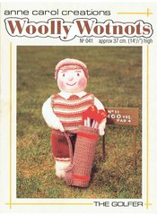 Woolly wotnots no 041 the golfer vintage toy knitting pattern