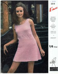 Emu 2810 ladies dress vintage crochet pattern
