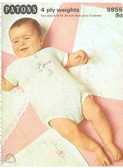 Patons 9855 baby romper suit vintage knitting pattern