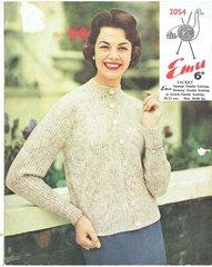 Emu 2054 ladies cardigan vintage knitting pattern