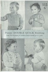 Patons 332 baby cardigans vintage knitting pattern