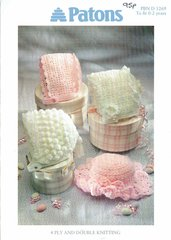 Patons 5269 baby bonnet hats vintage crochet pattern