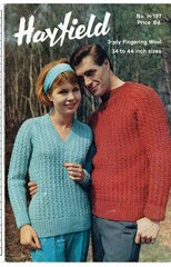 Hayfield 197 ladies and mens jumper vintage knitting pattern