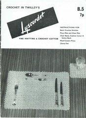 Twilleys B5 table mats vintage crochet pattern