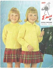 Emu 6069 childrens cardigan and jumper vintage knitting pattern