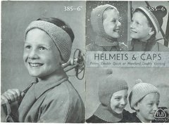 Patons 385 childrens helmet and cap vintage knitting pattern
