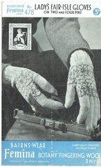 Bairnswear 478 ladies fairisle gloves vintage knitting pattern